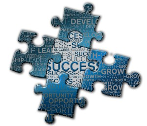 Franchise business success puzzle solved word art.